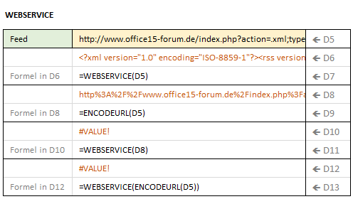 Excel Funktion in der Kategorie Web