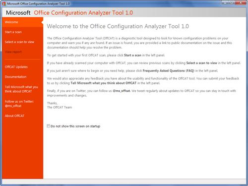 Microsoft Office Configuration Analyzer Tool