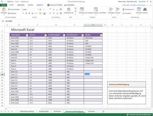 Microsoft Excel WebApp Update