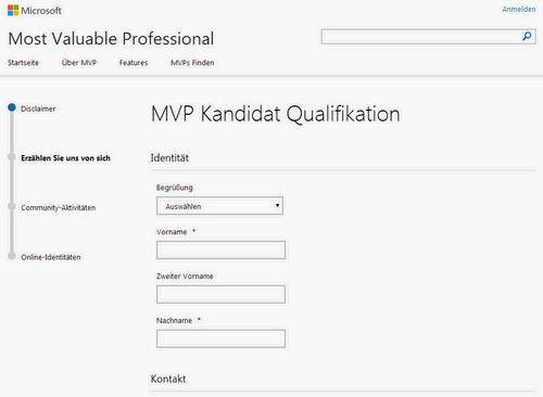 MVP Award Online-Formular